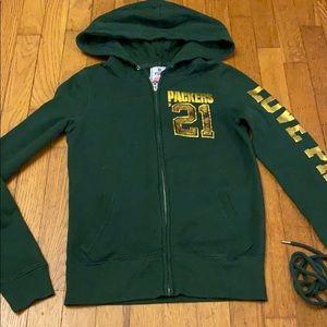 VS Pink Green Bay Packers zip up hoodie
